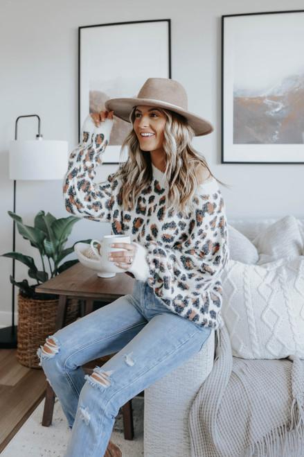 Running Wild Fuzzy Leopard Sweater