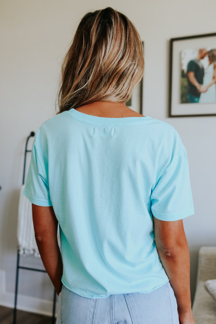 Ocean Drive Ocean Blue Cropped Pocket Tee
