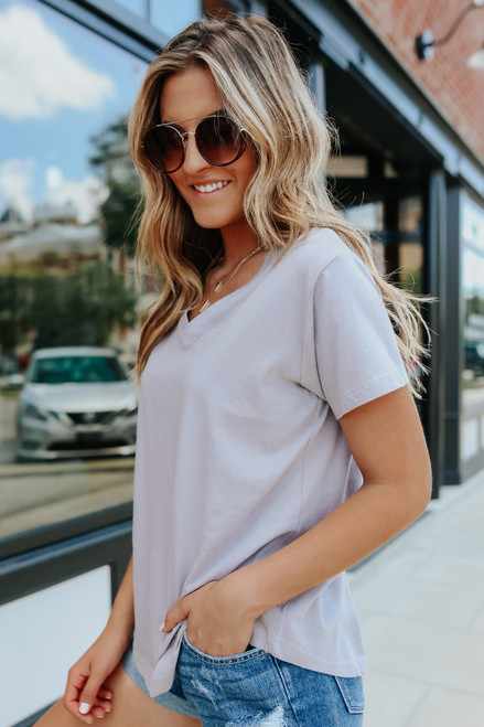 Ocean Drive V-Neck Light Grey Tee