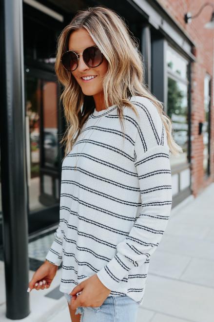Open Knit Striped Crew Pullover