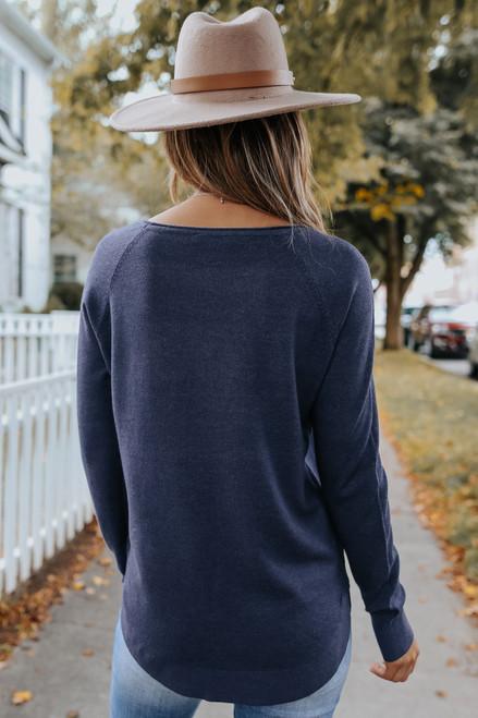 Lightweight Boatneck Indigo Soft Sweater