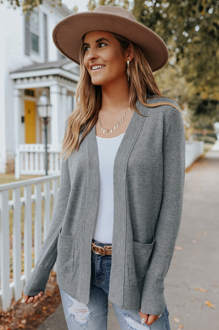 Ribbed Detail Grey Pocket Cardigan