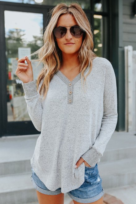 Soft Brushed Heather Grey Henley Top