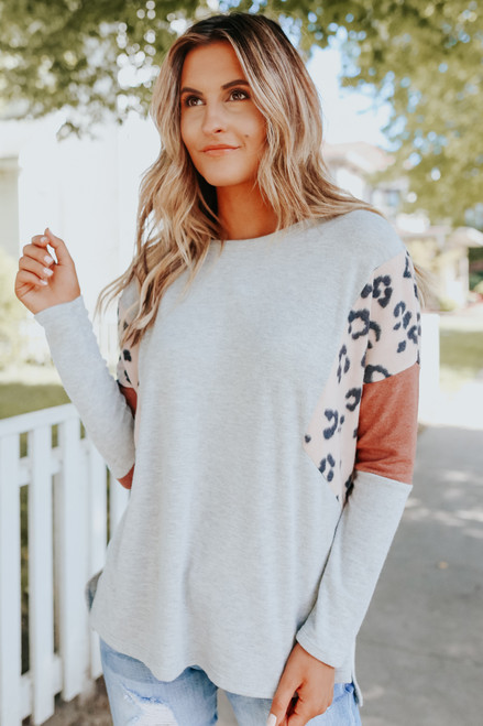 Brushed Leopard Colorblock Lightweight Top