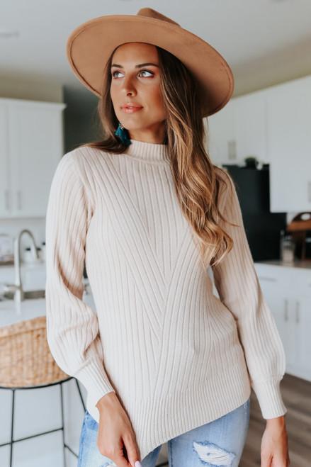 Mock Neck Oatmeal Ribbed Sweater