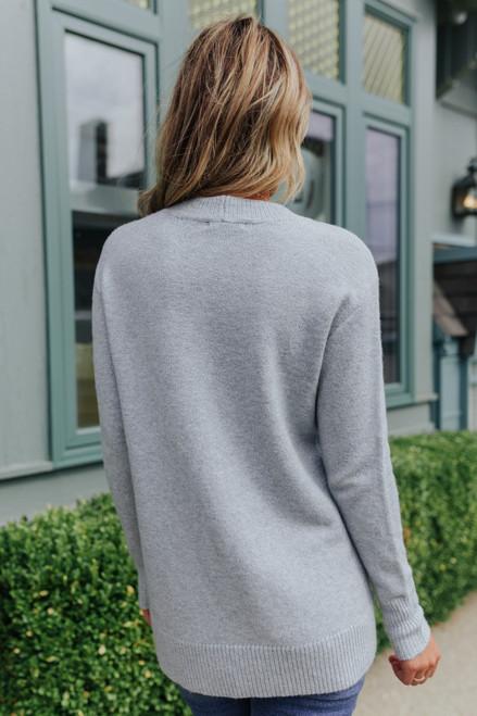Side Button Seam Detail Grey Sweater