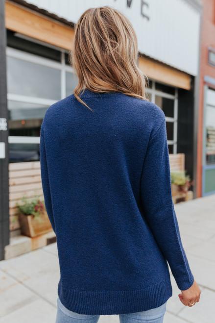Side Button Seam Detail Navy Sweater