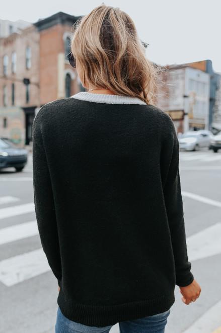 Chevron Leopard Colorblock Sweater