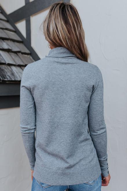 Button Cuff Turtleneck Grey Sweater
