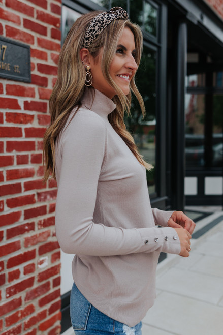 Button Cuff Turtleneck Taupe Sweater