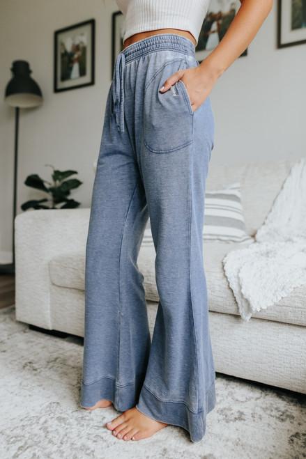 Free People Cozy Cool Dark Sapphire Lounge Pants