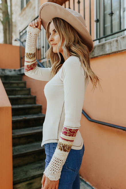 Free People In the Mix Cuff Linen Combo Top