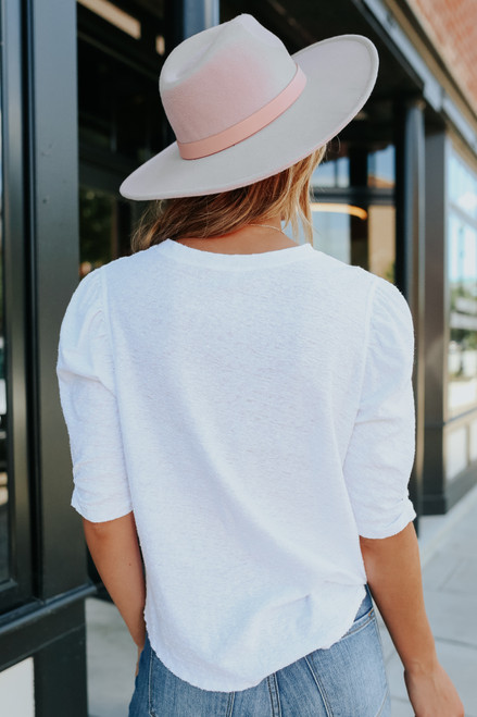 Free People Just a Puff White Top