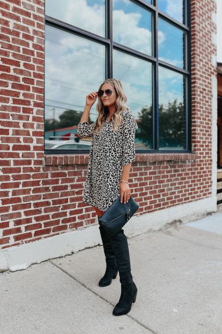 V-Neck Roll Tab Leopard Dress