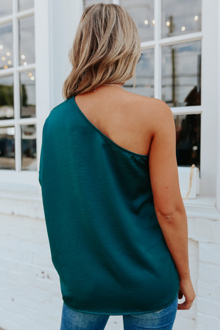 One Shoulder Green Satin Top