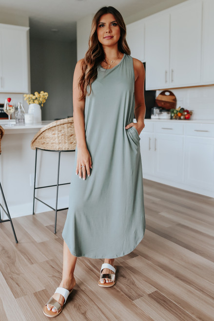 Cutout Racerback Olive Midi Dress