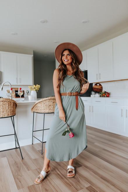 Cutout Racerback Olive Midi Dress