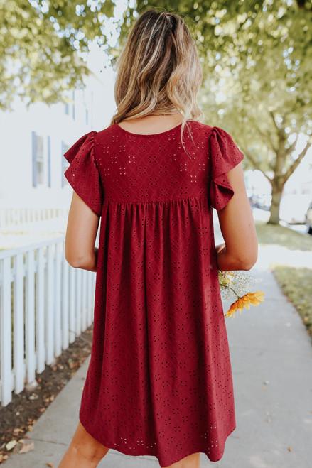 Cap Sleeve Burgundy Eyelet Dress