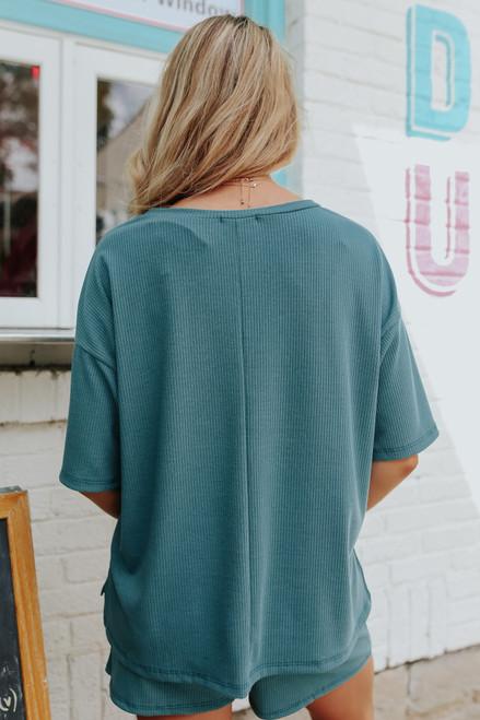 Short Sleeve Green Ribbed Top