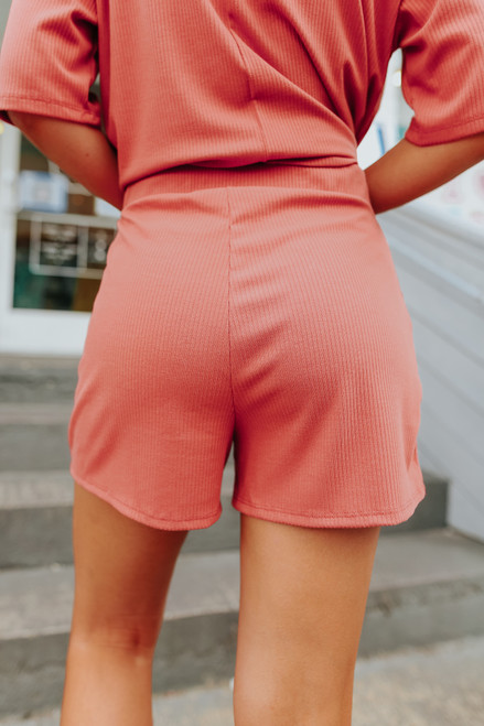 Drawstring Brick Ribbed Lounge Shorts