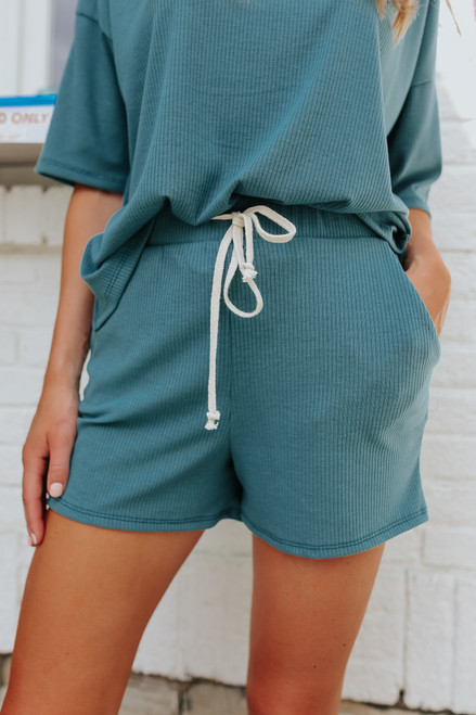 Drawstring Green Ribbed Lounge Shorts