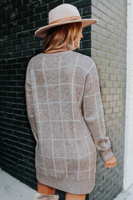 Kennedy Oatmeal Grid Sweater Dress