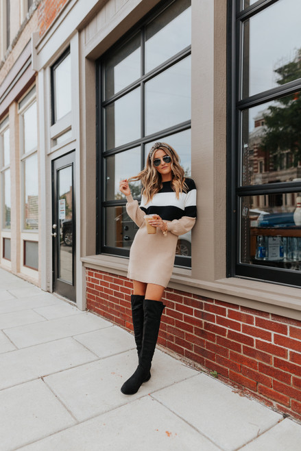 Cottage House Colorblock Sweater Dress