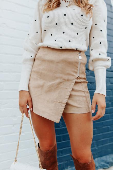 Faux Suede Zipper Mocha Skirt