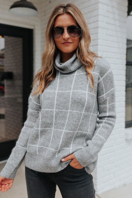 Turtleneck Grey Grid Sweater