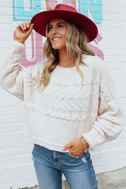 Folklore Cable Chenille Natural Sweater