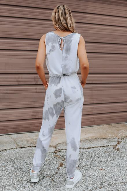 Scoop Neck Grey Tie Dye Drawstring Jumpsuit