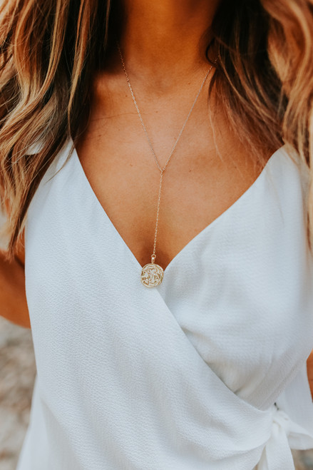 Palermo Gold Coin Y Necklace