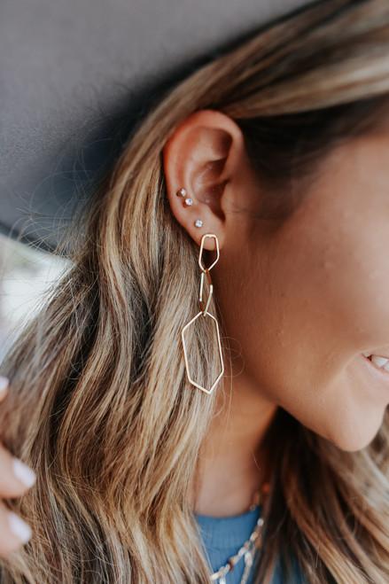 Geometric Gold Dangle Earrings