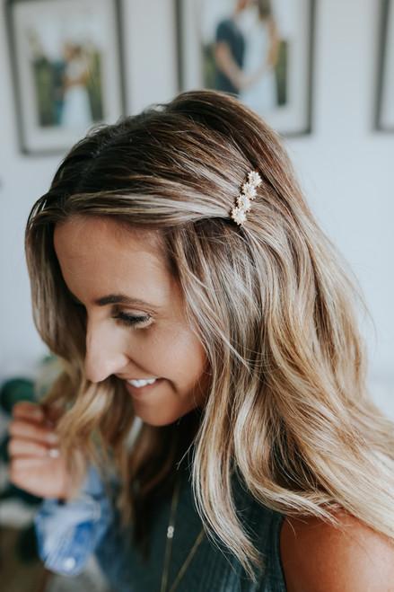 Pearl Flower Gold Hair Pin