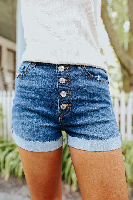 5-Button Dark Wash Cuffed Shorts