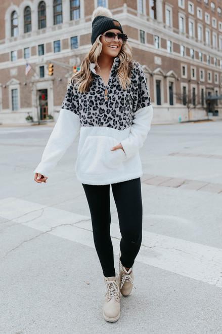 Half Zip Leopard Colorblock Sherpa Pullover