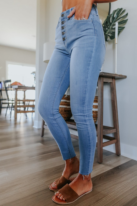 Karma 5-Button Light Wash Skinny Jeans