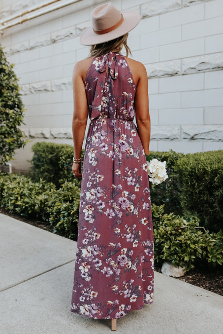 Halter Neck Rose Wine Floral Maxi