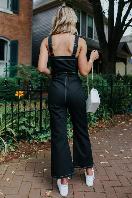 Contrast Stitch Black Denim Jumpsuit
