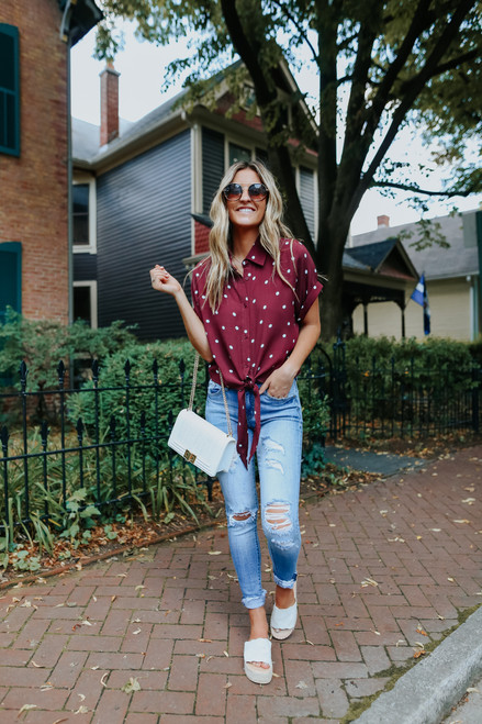 Button Down Dotted Burgundy Knot Shirt