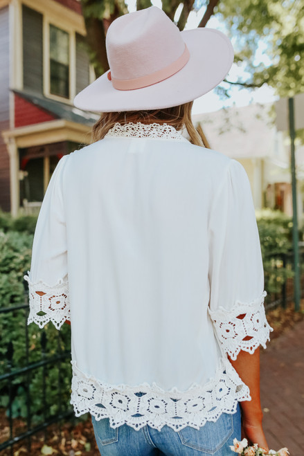 Button Detail Ivory Crochet Trim Blouse