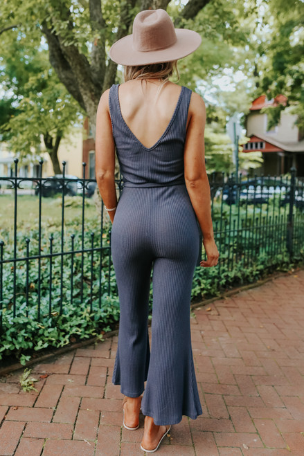 V-Neck Tie Waist Charcoal Ribbed Jumpsuit