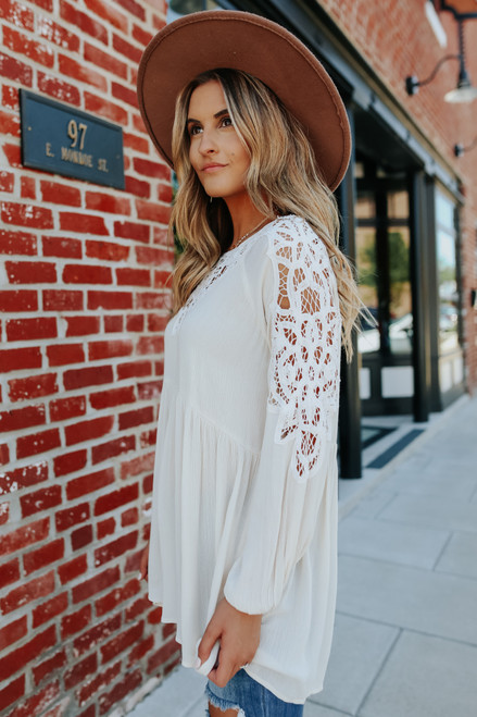 Crochet Detail Natural Babydoll Tunic Dress