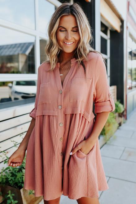 Button Down Long Sleeve Salmon Babydoll Dress
