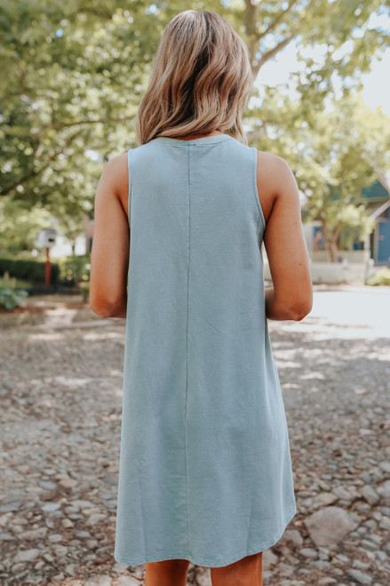 Lace Up Mint French Terry Dress