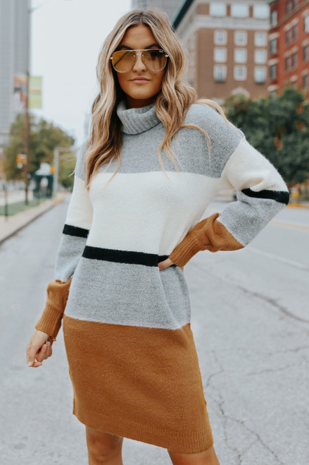 Turtleneck Colorblock Sweater Dress
