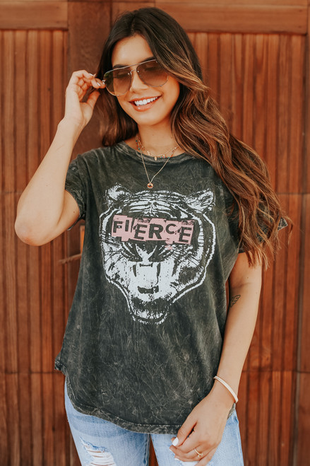 Fierce Tiger Vintage Wash Charcoal Tee