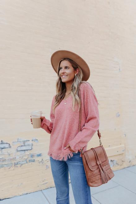 V-Neck Rose Fringe Sweater