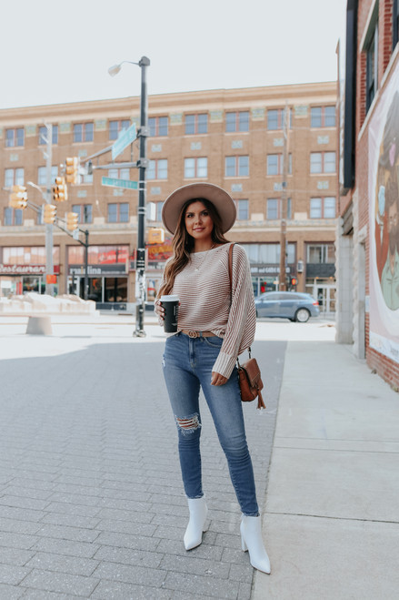 Two Tone Boatneck Ribbed Sweater