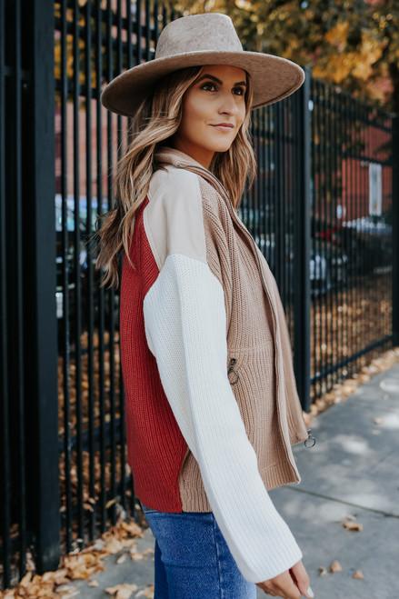 Contrast Colorblock Sweater Jacket